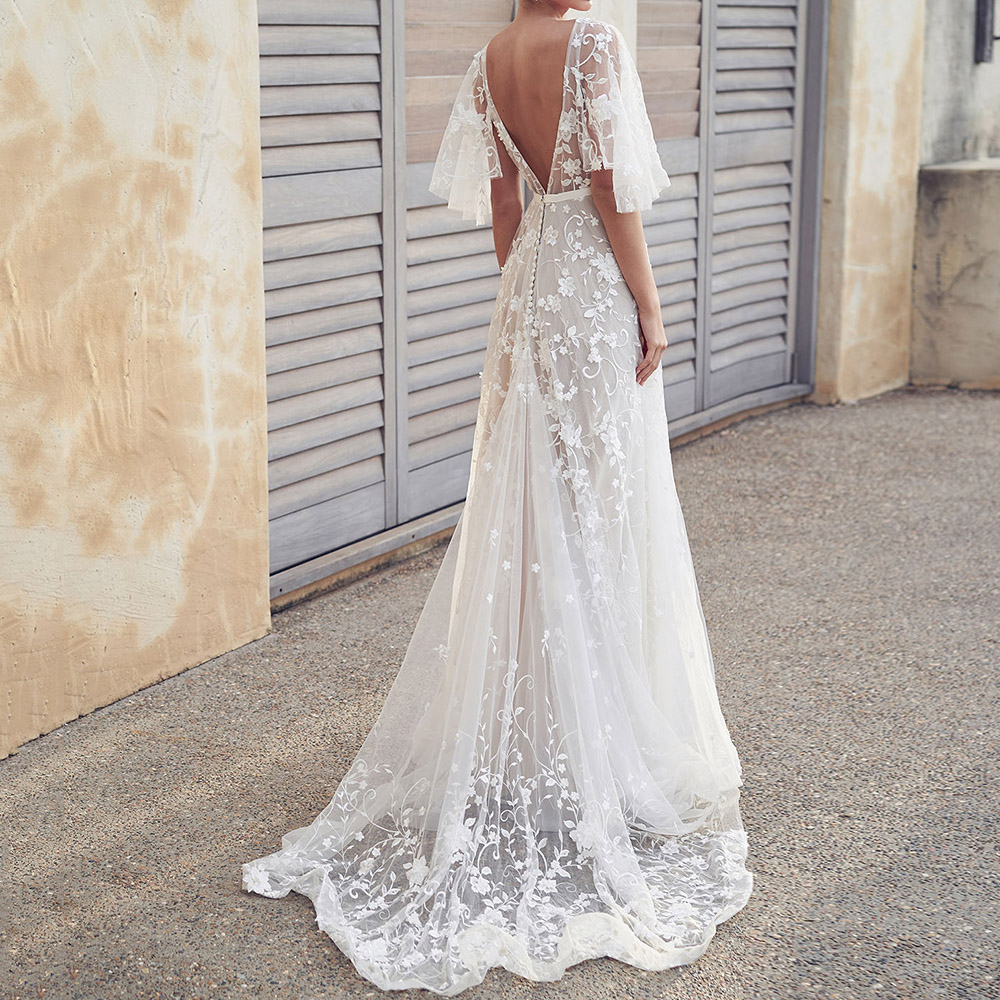 White Lace Floral Bridesmaid Dress Sexy Illusion V-Neck Backless A-Line Long Party Robe Femme 2020 Autumn Formal Wedding Gown