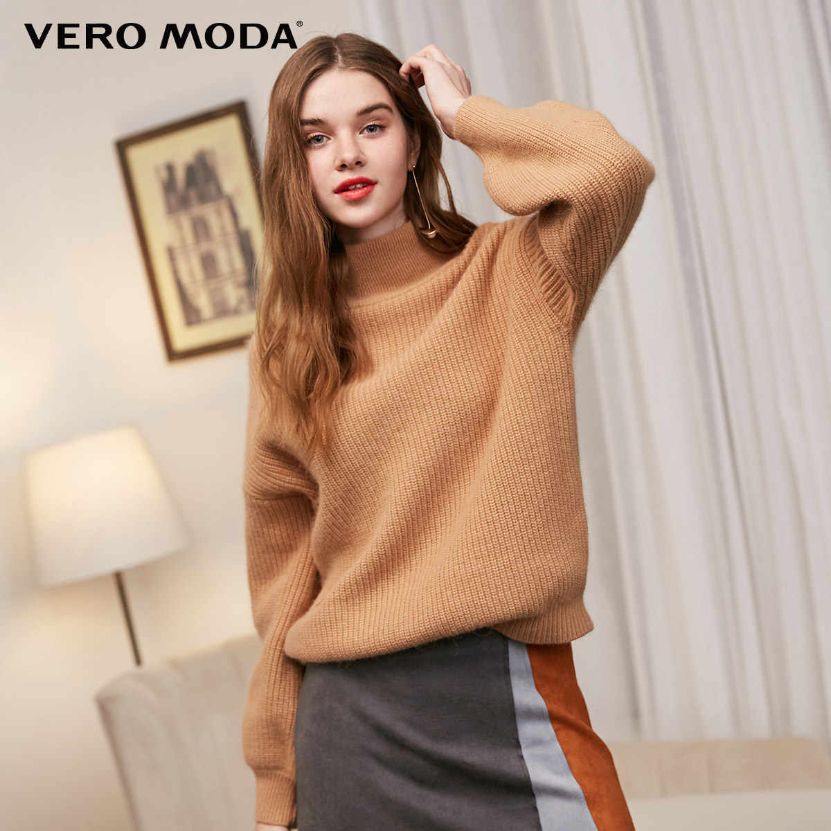 Vero Moda Nữ Ins Lưng Rỗng Ra Cổ Cao Lỏng Lẻo Áo Len | 318413588