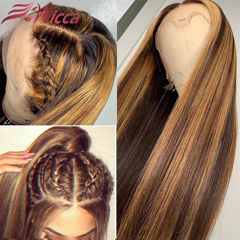 13x6 perucas da parte dianteira do laço destaque em linha reta peruca frontal do laço brasileiro remy frente do laço peruca de cabelo humano pré arrancado wicca