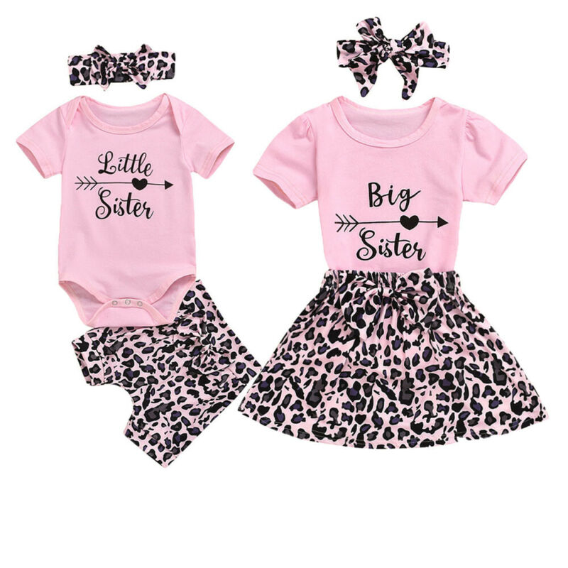 Комплект из 3 предметов для маленькой сестры; Футболка для маленьких девочек; Топ + леопардовые штаны; Комплект с юбкой