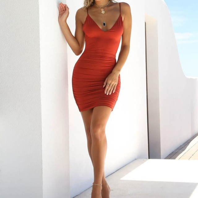 Hirigin Sexy Womens Summer Backless High Draped Slim Bandage Bodycon Evening Party Short Mini Dress 3