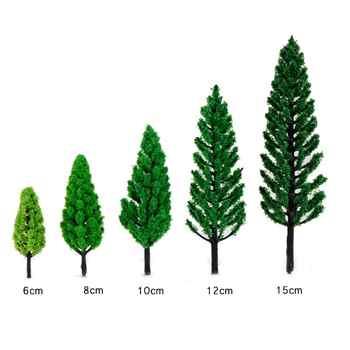5 pièces arbres artificiels pin arbre fée jardin Miniatures Mini nains mousse Terrariums Figurines pour la décoration de noël ornements