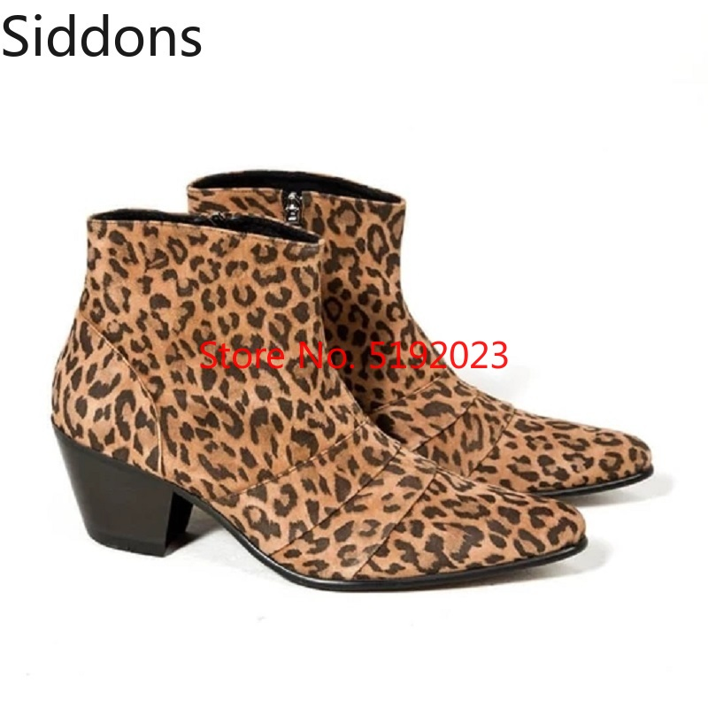 Winter Ankle Boots Luxury Leopard Patterned Leather High Heel Western Ankle Boots  Male Casual Boot Zapatos De Hombre D151