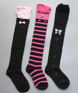 Cute lolita women's over Knee Socks Girls thigh high Stockings with bow heart print