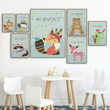 Woodland Animals Fox Bear Deer Owl Cactus Wall Art Canvas Painting Nordic Posters And Prints Pictures Baby Kids Room Decor
