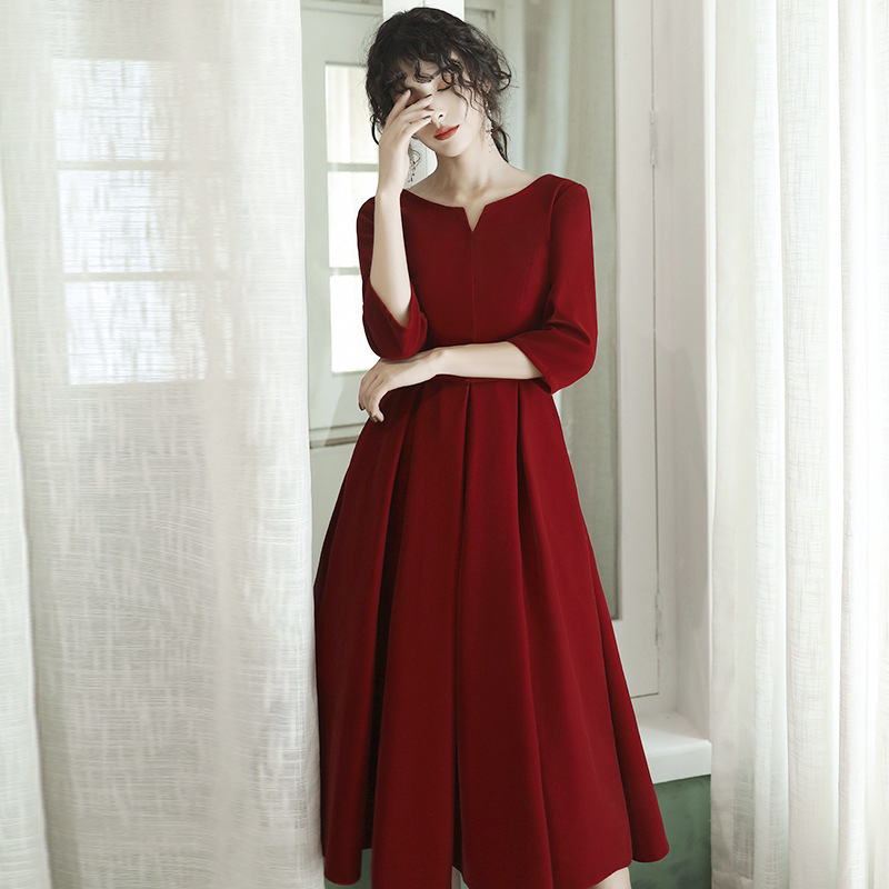 2020 Cocktail Dress Toast Take Bride Autumn/winter 2020 Wine Velvet Usually Female Can Wear Long Sleeve Recalls
