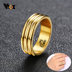 Vnox Chic Women Custom Engrave Info Wedding Bands Ring Gold Tone Anti Allergy Stainless Steel Female Gifts