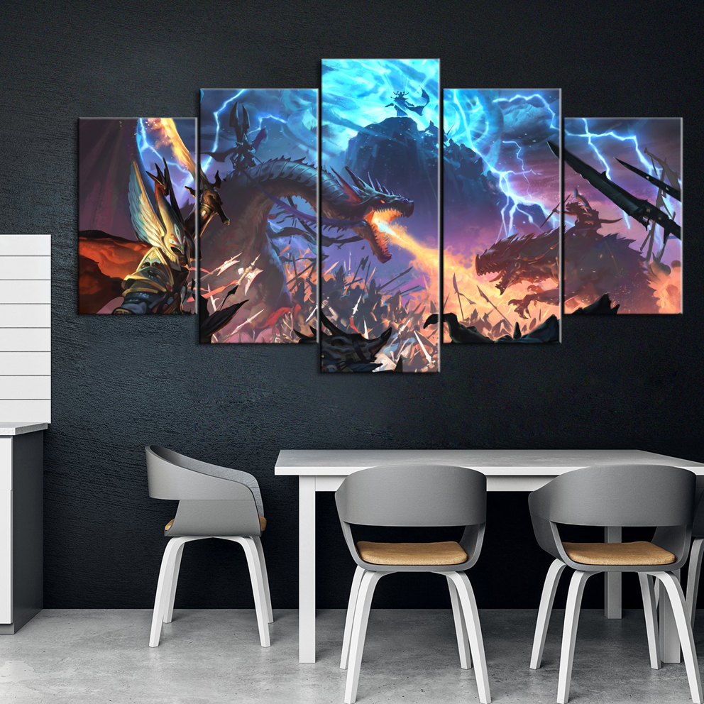 5 Piece Decorative Painting Poster Game Home Mural Total War: Warhammer II Game Animation Art Wall Decor Paintings image