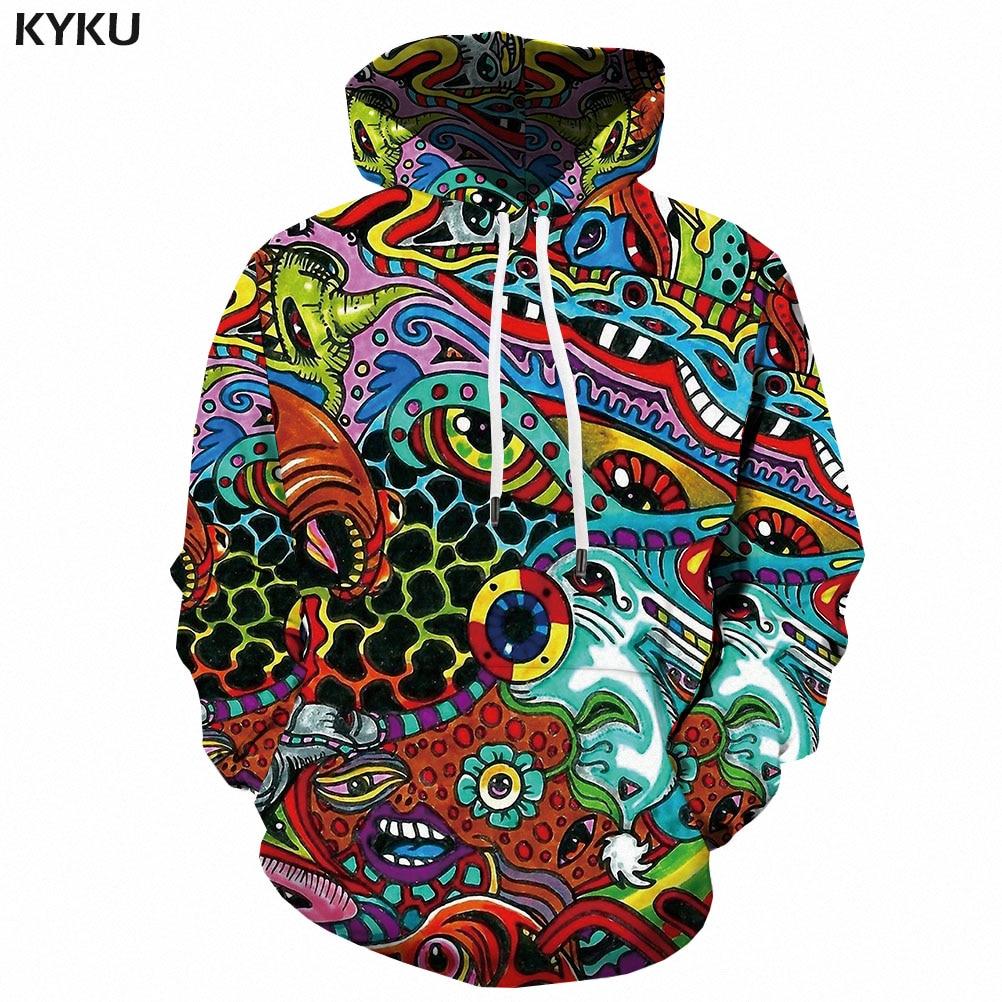 KYKU 3d Hoodies Anime Sweatshirts men Cartoon Hoodie Print Funny Hoody Anime Colorful Sweatshirt Printed Psychedelic 3d Printed