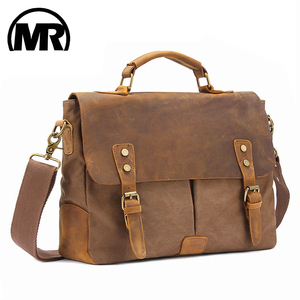 MARKROYAL Vintage Crazy Horse Leather Canvas Messenger Bags Laptop Briefcase Crossbody Satchel Bag Dropshipping(China)