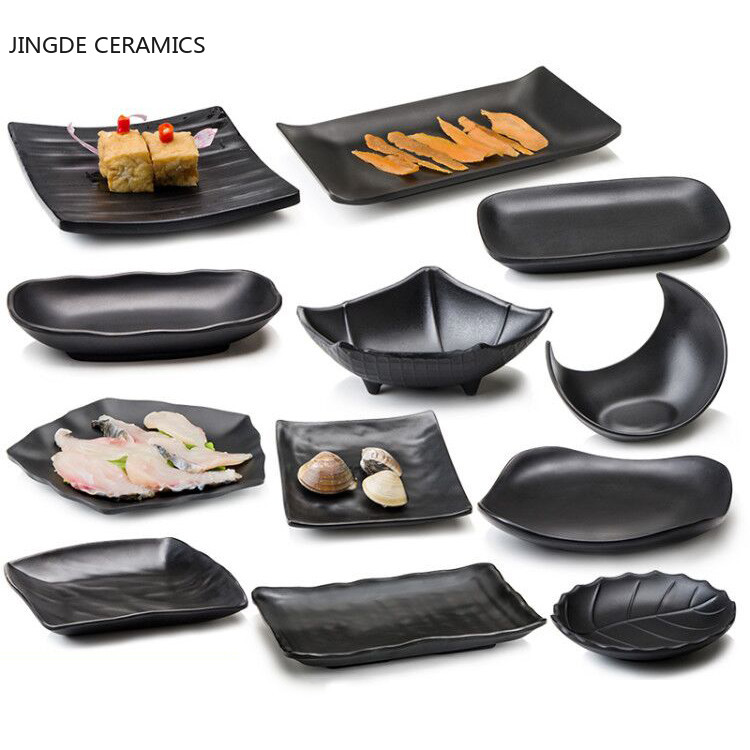 Creative black imitation porcelain bone plate is not easy to break personality sushi fruit dessert plate restaurant kitchen dish
