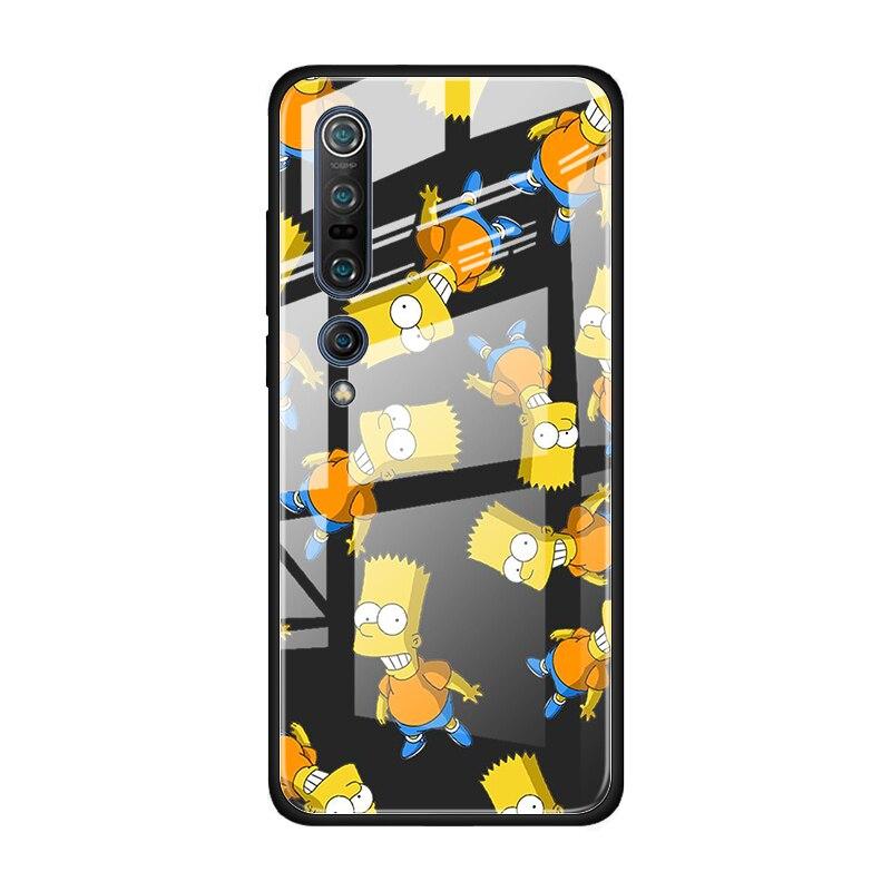 The Simpsons Tempered Glass Case For Xiaomi Mi Note 10 Pro CC9 CC9E A3 9T 8 Lite 10 Lite 5G Poco X2 Cover Coque