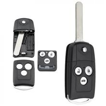 3 Buttons Car Key Fob Case Shell Replacement Remote Cover with HON66 Blade Fit for -Honda Civic Accord -Jazz -CRV dandkey 50x new replacement remote key case shell fob 2 buttons for honda accord crv pilot civic without blade key cover shell