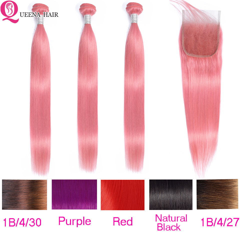 Pink Straight Hair Bundles With Closure 1B/4/30 Ombre Bundles With Closure Red Peruvian Human Hair Bundles With Closure Remy