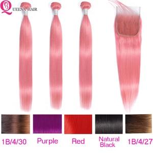 Розовый прямые волосы пучки волос с закрытием 1B/4/30 пучки волос от светлого до темного цвета с закрытием красный перуанские человеческие вол...