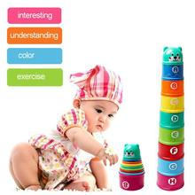 9PCS Baby Stacking Cup Toys Funny Early Educational Toys Rainbow Stacking Tower Mini Bear Head Toys Baby Bath Toys Children Gift cheap CN(Origin) Plastic Sand Playing Tool Unisex 0-12 Months 13-24 Months 2-4 Years 3 years old dropship wholesale net bag