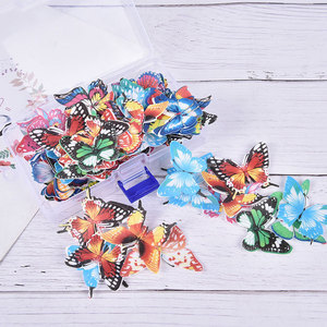 96pcs/box Cupcake Toppers For Cake Decoration Birthday Wedding Mixed Butterfly Edible Glutinous Wafer Rice Paper Cake