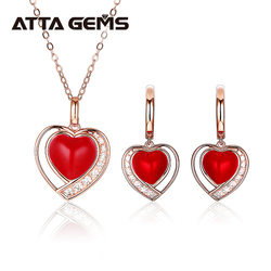 Red Enamel Women's Jewelry Set S925 Rose Gold Plated Sweet Romantic Design for Women Fine Jewelry Top Quality Gifts