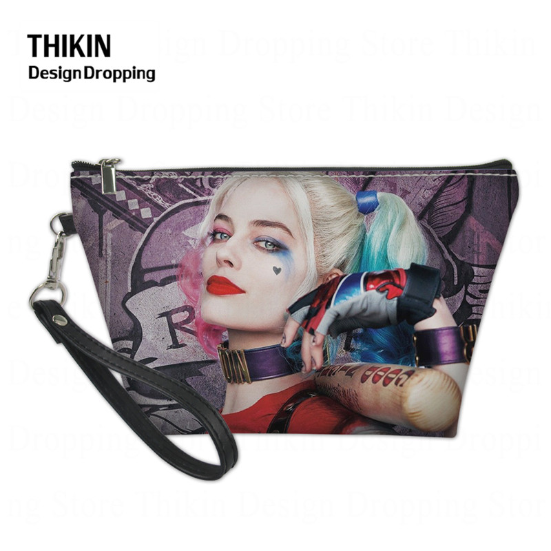 THIKIN Harley Quinn Joker Women Case For Cosmetics Fashion Teen Girl Travel PU Leather Cosmetic Bag Small Make Up Storage Box