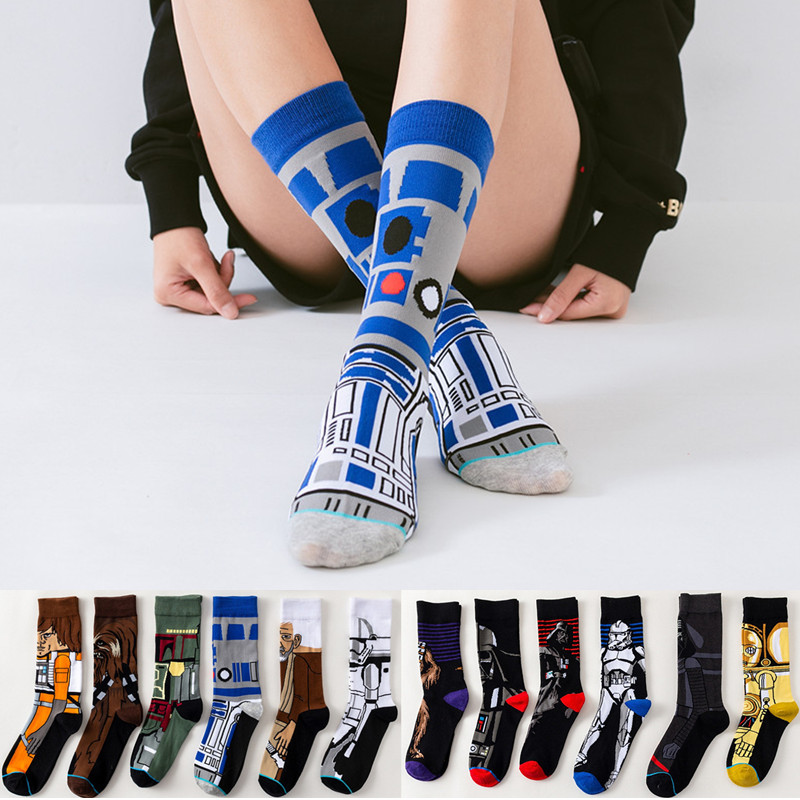 Star Wars Movie Stockings Master Yoda R2-D2 Cosplay Socks Wookiee Jedi Knight Novelty Men's Women's Socks Spring Autumn Winter
