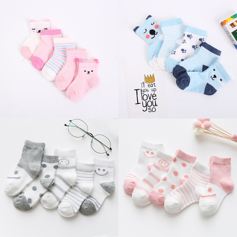 5 Pairs/Lot Baby Socks  For Newborns Infant Cute Cartoons Soft Cotton Socks Summer 0-24 Month Boy Girl Lovely Mesh Kids Gift CN