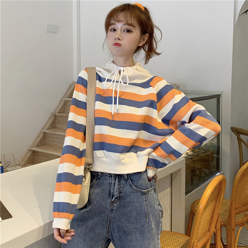 autumn style sweet long sleeve new hoodies and pullover striped hooded Drawstring crop top Women's Clothing Korean Ladies hot 13