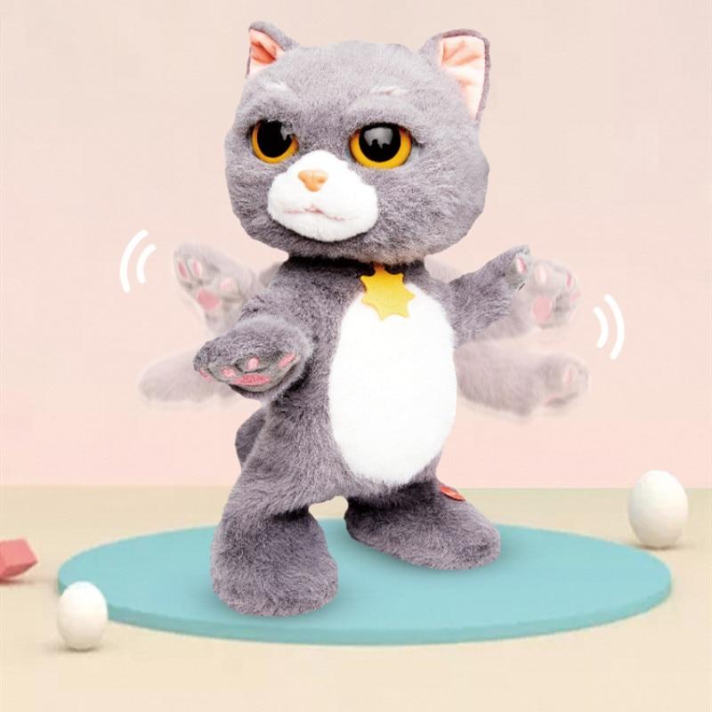 Classic Cute Robot Cat Electric Plush Pet Cat Can Walking Singing Songs Dancing Sound Effect Electric Cute Pet Boy Girl Gifts