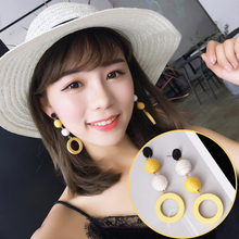 2019 Sale New Earing Aretes Pendientes Korean Net Earrings Girl Retro Temperament Flax Rope Colliding Chromosphere Wood Wooden
