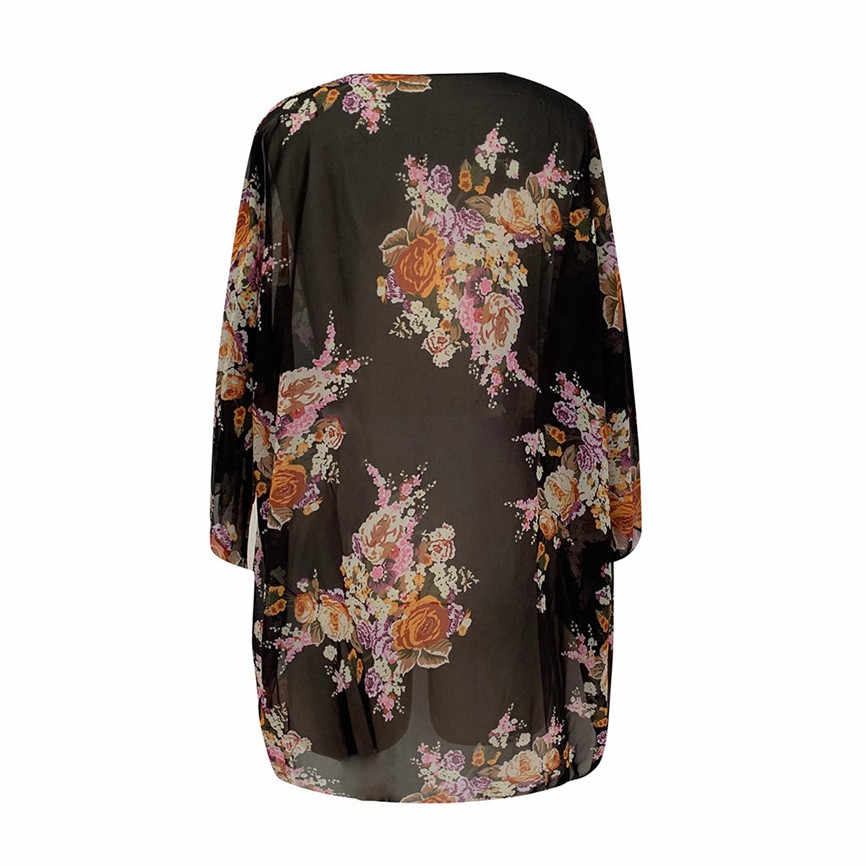 أبلى معطف حجم كبير المرأة المطبوعة نصف كم كبير الحجم سترة الشيفون الشاطئ ملابس السباحة Vintage الخريف طويلة الأكمام معطف