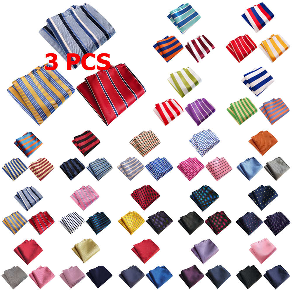 3 PCS Men Classic Stripe Candy Color Pocket Square Handkerchief Wedding Hanky