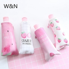 Fruit Strawberry Toothpaste With Pencil Sharpener Pencil Case for Girls Boys Stationery Cute  PU Big Pencil BagSchool Supplies strawberry overlay pencil case