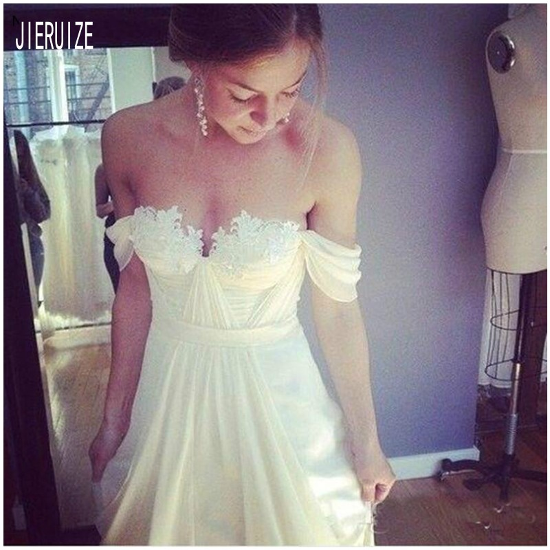 JIERUIZE Sexy Off Shoulder Wedding Dresses Backless Appliques Corset Bridal Gowns Chiffon Beach Bride Dresses Vestido De Noiva