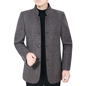 Men Gray Coffee Wool Tweed Blazer Winter Smart Casual Thermal Quilted Tunic  Jacket Suit Male Mandarin Collar Woolen Blend Oufit