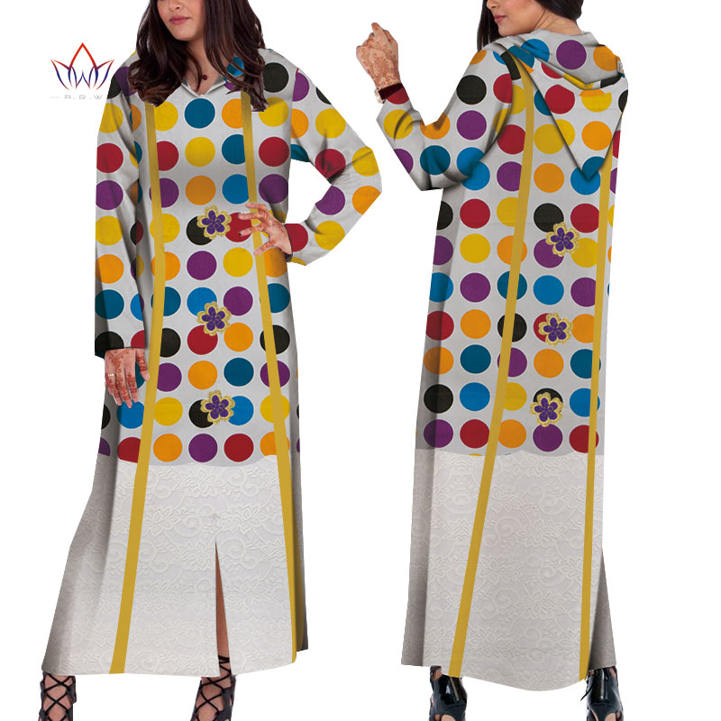 Bazin Riche Long Sleeve African Hodded Dresses For Women Dashiki Print Long Party Dresses Vestidos Women African Clothing WY5137