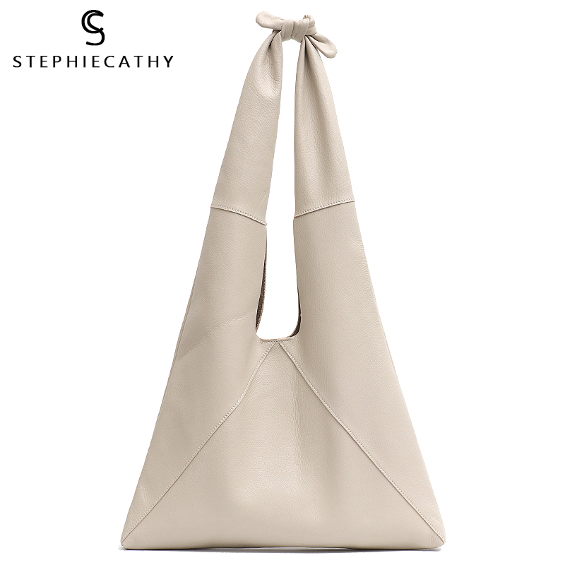 SC Knotted Handle Cow Leather Hobo Bag Femal High Quality Luxury Design Brand Genuine Italian Leather Big Women Shoulder Bags