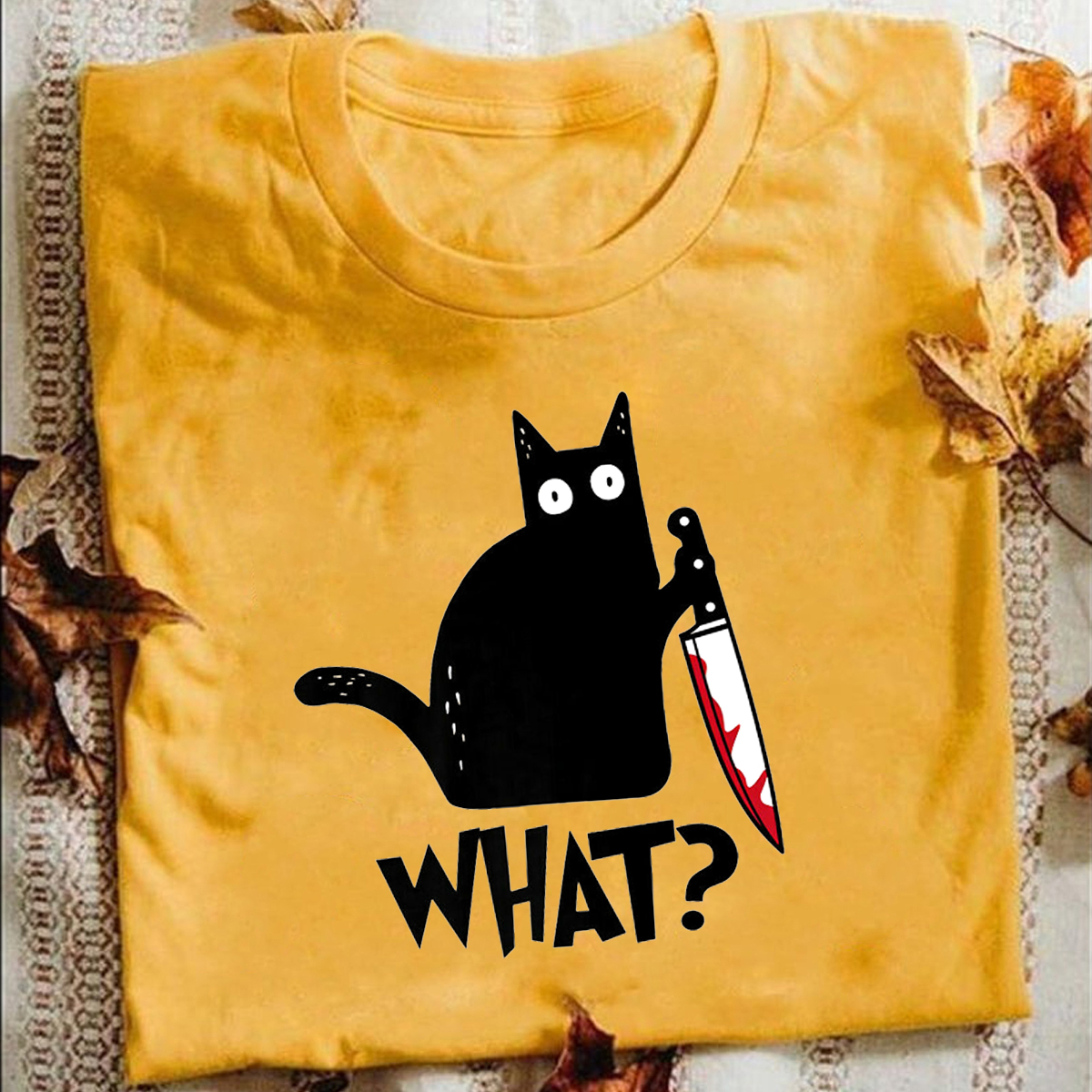 Cat What T Shirt Murderous Cat With Knife Funny Halloween Gift T Shirt Unisex High Quality Cotton T-shirts Halloween Present