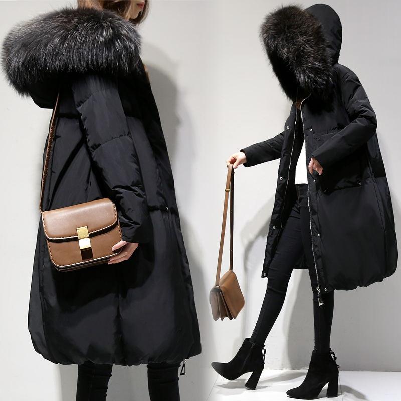 Plus Size 6XL 2019 Winter Women Loose Thick Warm Jacket Female Faux Fur Collar Hooded Down Cotton Coat   Parkas   Outwear