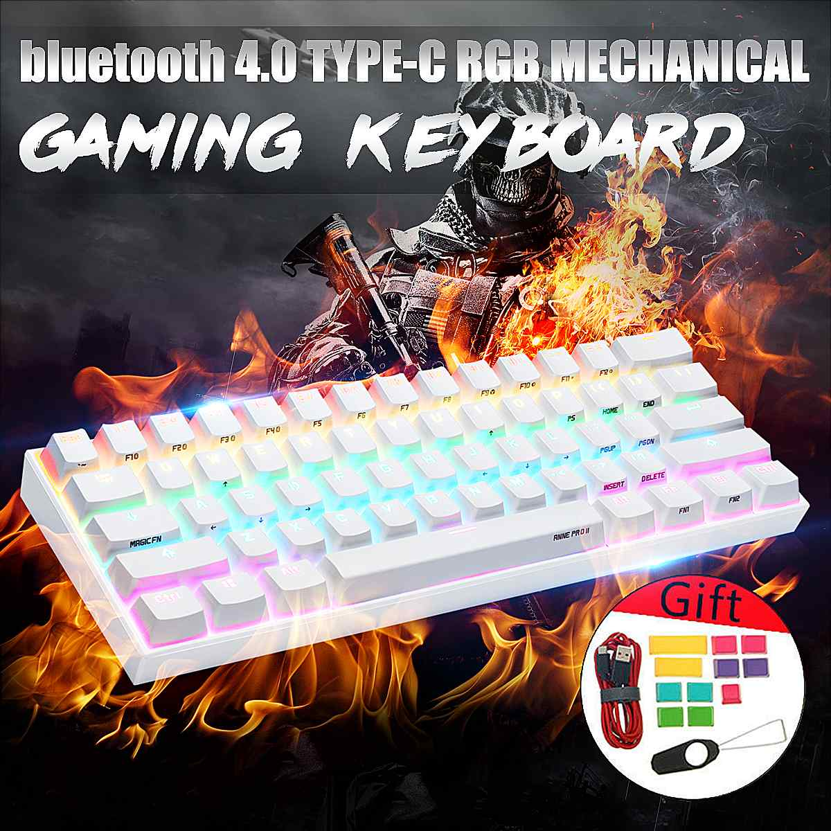 [Gateron Switch]Obins Anne Pro 2 60% NKRO Mechanical Keyboard Wireless Bluetooth 4.0 Type-C RGB Mechanical Gaming Keyboard