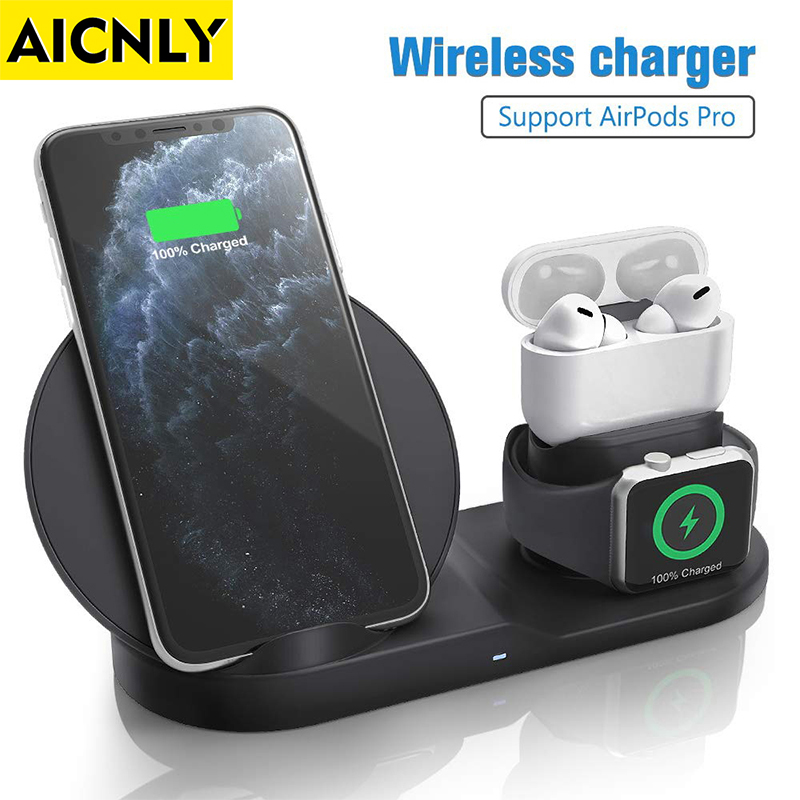AICNLY 10W Qi Wireless Charger Dock Station Induction Charger for iPhone Airpods Fast Charging Station 3 in 1 Wireless Charger(China)