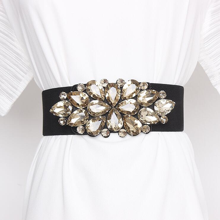 Women's Runway Fashion Rhinestone Beaded Elastic Cummerbunds Female Dress Corsets Waistband Belts Decoration Wide Belt R2858