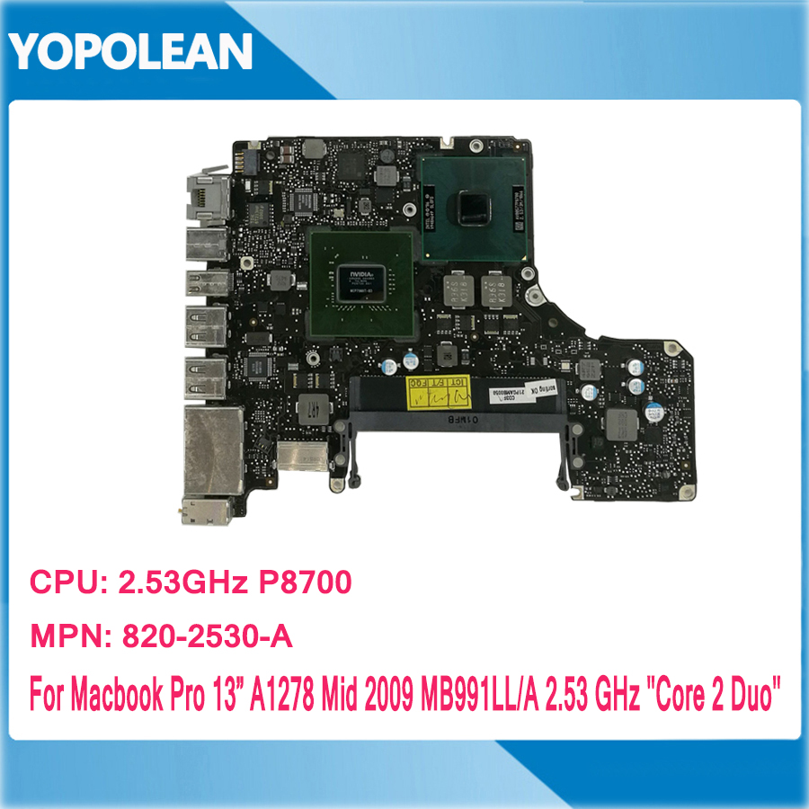 2 53 GHz P8700 C2D Motherboard For Macbook Pro 13 A1278 Logic Board Mid 2009 820