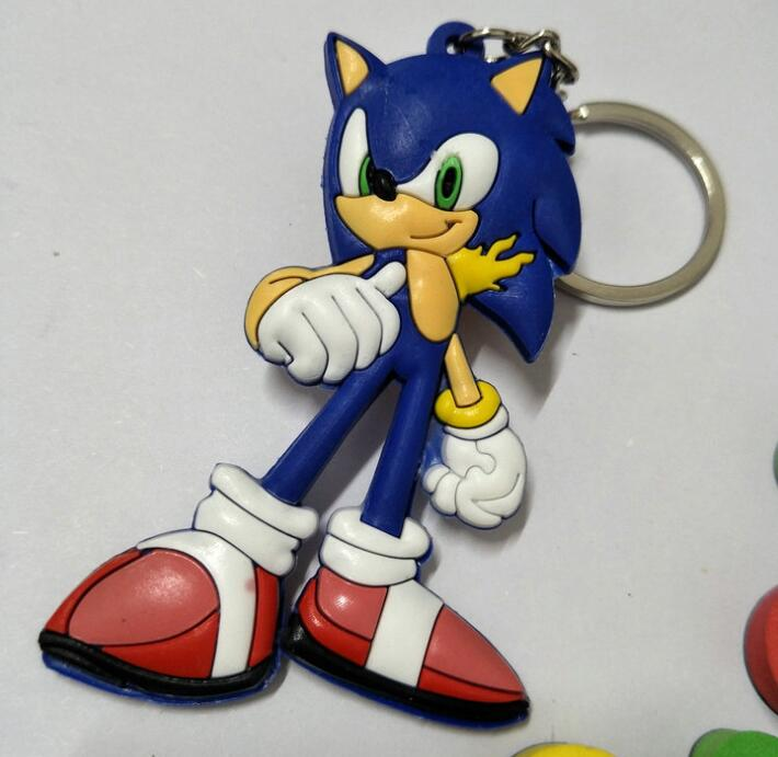 Free Shipping New 1pcs Cartoon Pvc Sonic The Hedgehog Blue Charms Pendants Key Chain Keychains Party Toy Kids Gifts