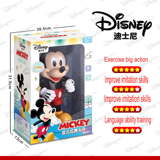 Disney  Music Dancing Mickey Mouse Original Figure Action Toys Music Educational Walking Robot Kids toy Brinquedo Mikey