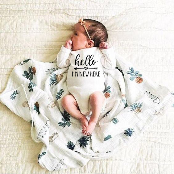 Baby Cotton Fashion   Romper   Letter Print Hello I'm New Here Funny Infant Playsuits Clothes Long Sleeve Toddler Jumpsuits Outfits