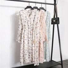 Floral Chiffon Dress Women Autumn Casual Lace-up White V Neck Elegant Dress Long Sleeve S-XL Print Midi Pink Vestidos Mujer 2019 все цены