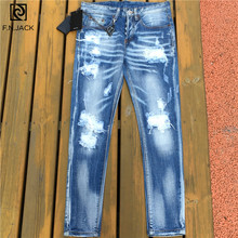 F.N.JACK Mens Jeans Stylish Ripped Jeans Pants Biker Skinny Denim Trousers Men Slim Straight Brand Denim Ripped Jeans for Male