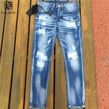 F. n. JACK Herren Jeans Stilvolle Zerrissene Jeans Hosen Biker Dünne Denim Hosen Männer Dünne Gerade Marke Denim Zerrissenen Jeans für Männer