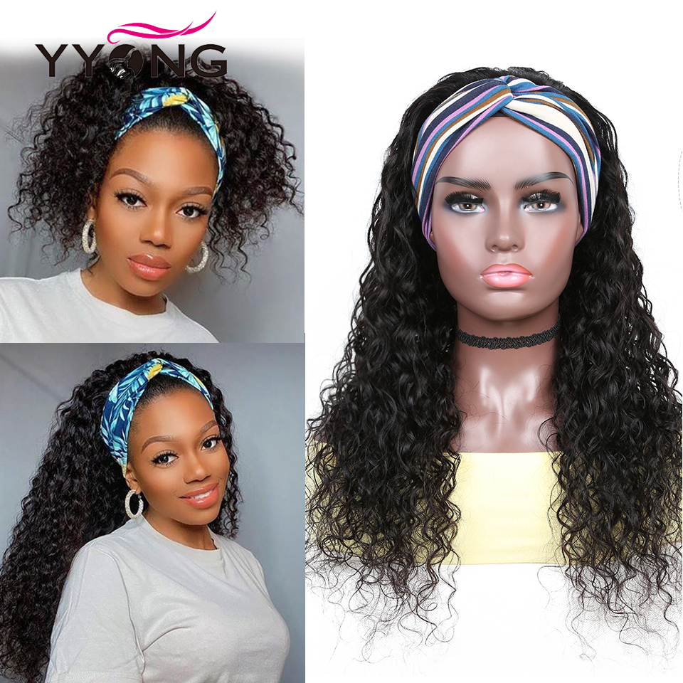 YYongHair  Headband Wig With Scarf 100%   Water Wave  Wig Glueless Wig for Women 8-24inch 1
