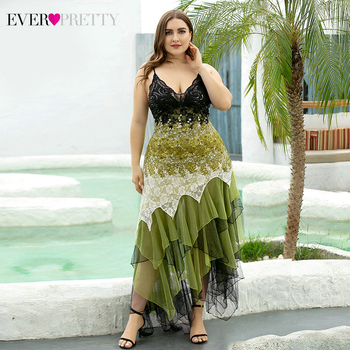 Plus Size Evening Dresses Asymmetrical Spaghetti Straps V-Neck Sequined Lace Formal Party Gowns Vestido 2020 1