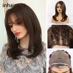Peluca larga frontal de encaje sintético INHAIRCUBE, pelucas de cabello lacio Castaño Ombre, cabello Natural para mujeres afroamericanas